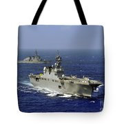 Jds Hyuga Sails In Formation With U.s Tote Bag