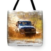 Jeep In The Mud Edited Tote Bag