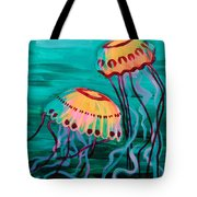 Jellyfish In Green Water Tote Bag