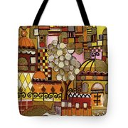 Jerusalem Alleys Tall 5  In Red Yellow Brown Orange Green And White Abstract Skyline Landscape   Tote Bag