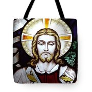 Jesus Close Up Stained Glass Tote Bag