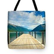Jetty Of A Beautiful Lake  Tote Bag