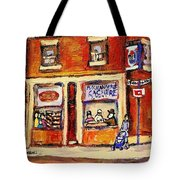 Jewish Montreal Vintage City Scenes Hutchison Street Butcher Shop  Tote Bag