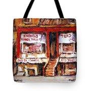 Jewish Montreal Vintage City Scenes Indigs Kosher Butcher Tote Bag