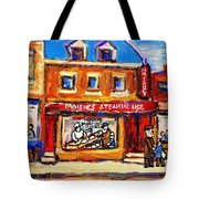 Jewish Montreal Vintage City Scenes Moishes St. Lawrence Street Tote Bag