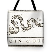 Join Or Die French And Indian War Tote Bag