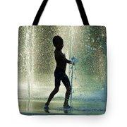 Joyful Child In The Water Fountain Tote Bag