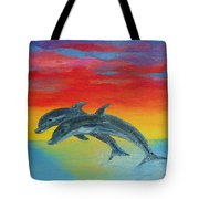 Jumping Dolphins Left Tote Bag
