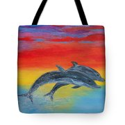 Jumping Dolphins Right Tote Bag