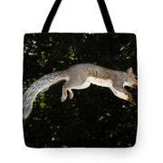 Jumping Gray Squirrel Tote Bag