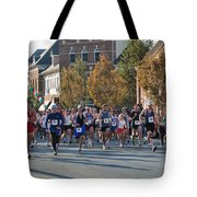 Just After The Gun At A Running Race On A Town Street Tote Bag