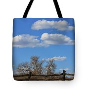 Kansas Country Wooden Fence With Blue Sky And Cloud's Tote Bag