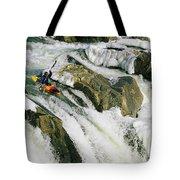 Kayaker At The Top Of A Waterfall Tote Bag