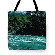Kayaker Surfing Terminator Rapid Waves Tote Bag