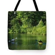 Kayakers Paddle In The Headwaters Tote Bag