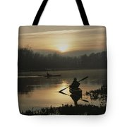 Kayakers Paddle Through Still Water Tote Bag