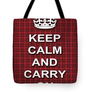 Keep Calm And Carry On Poster Print Red Black Stripes Background Tote Bag
