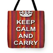 Keep Calm And Carry On Poster Print Red Purple Stripe Background Tote Bag
