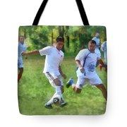 Kicking Soccer Ball Tote Bag