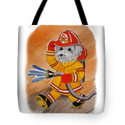 Kids Art Firedog Firefighter  Tote Bag