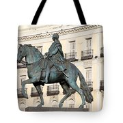 King Charles IIi Statue On Puerta Del Sol Tote Bag