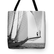 king of the world - a classic sailboat with all sails plying the sea on the island of Menorca Tote Bag