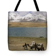 Kirghiz Nomad Leads Bactrian Camels Tote Bag
