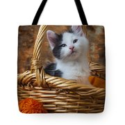Kitten In Basket With Orange Yarn Tote Bag