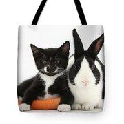 Kitten, Rabbit And Carrot Tote Bag