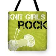 Knit Girls Rock Tote Bag by Linda Woods