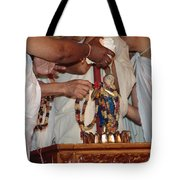 Krishna And Priests Tote Bag