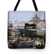 A Galleon At Bottom Of Port Mahon Menorca One Of The Largest Natural Harbours In The World Tote Bag
