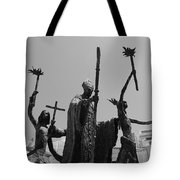La Rogativa Statue Old San Juan Puerto Rico Black And White Tote Bag by Shawn O'Brien