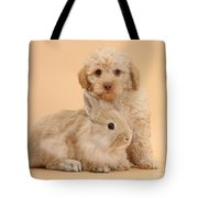 Labradoodle Puppy With Rabbit Tote Bag