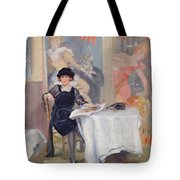 Lady At A Cafe Table  Tote Bag