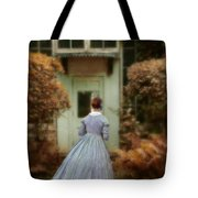 Lady In 19th Century Clothing By Conservatory Tote Bag