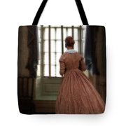 Lady In 19th Century Clothing Looking Out Window Tote Bag