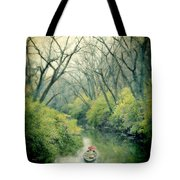 Lady In A Row Boat On A River Tote Bag