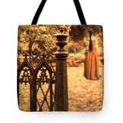 Lady In Renaissance Dress By Open Gate Tote Bag