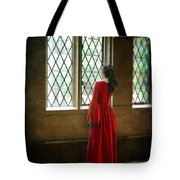 Lady In Tudor Gown Looking Out A Window Tote Bag