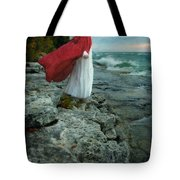 Lady In Vintage Clothing By The Sea Tote Bag