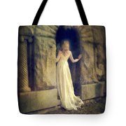 Lady In White Gown In Doorway Tote Bag