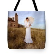 Lady In White With Parasol By The Sea Tote Bag