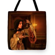 Lady Intudor Gown With Bird Tote Bag by Jill Battaglia