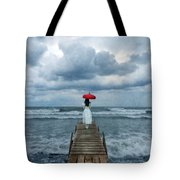 Lady On Dock In Storm Tote Bag