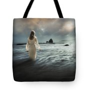 Lady Wading Into The Sea In The Early Morning Tote Bag