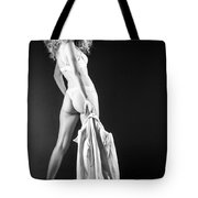 Lady With A Coat Bw Tote Bag