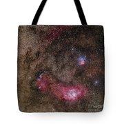 Lagoon Nebula And Trifid Nebula Tote Bag