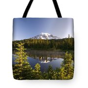 Lake And Mount Rainier, Mount Rainier Tote Bag