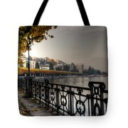 Lake Front With Autumn Trees Tote Bag